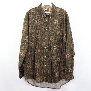 90s Tommy Hilfiger Mens Medium Paisley Shirt Green